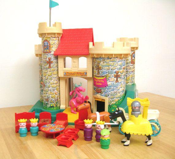Vintage Fisher Price Castle Set by toysofthepast on Etsy, $160.00