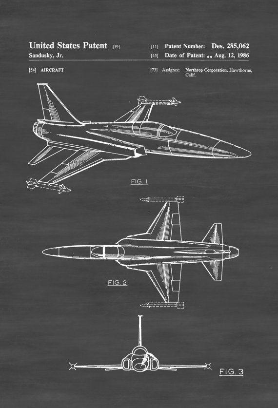 Northrop F-20  Tigershark Aircraft Patent - Vintage Airplane Airplane Blueprint Airplane Art Pilot Gift  Aircraft Decor Airplane Poster by PatentsAsPrints