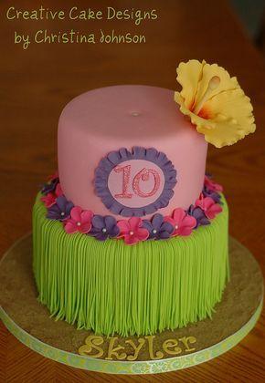 Cake Decorating: Hawaiian themed cake for a luau birthday party