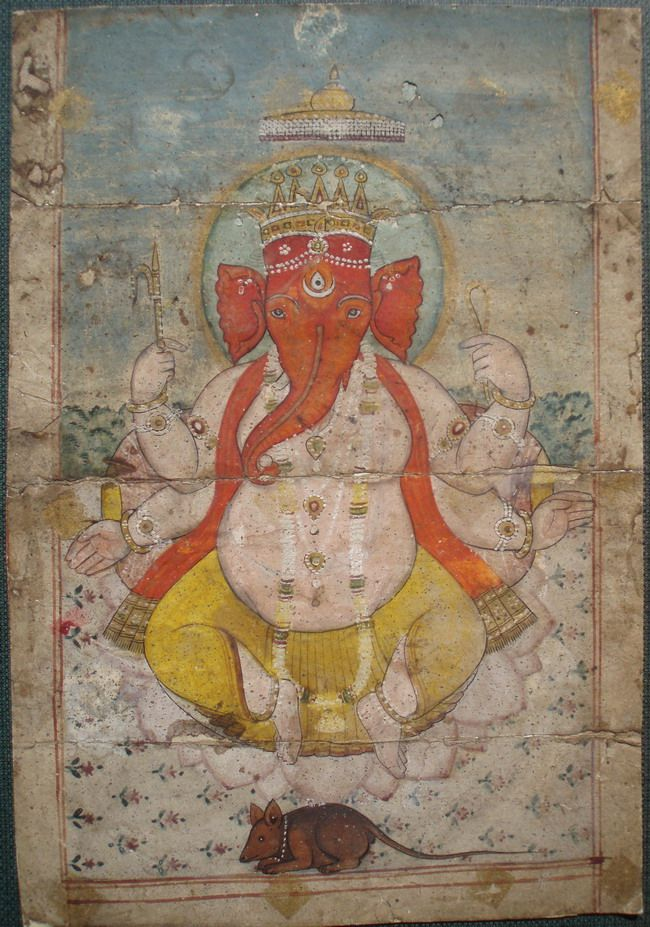 Indian Miniature Paintings - Jaipur Ganesha