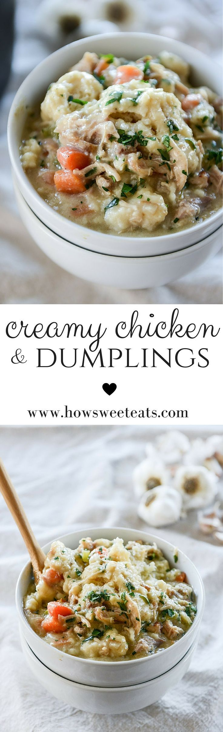 Creamy Chicken and Dumplings by /howsweeteats/ I http://howsweeteats.com