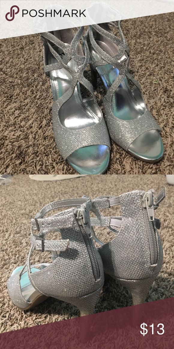 Silver Sparkly Heels Silver sparkly strappy heels. Perfect for prom. Only worn once Shoes Heels