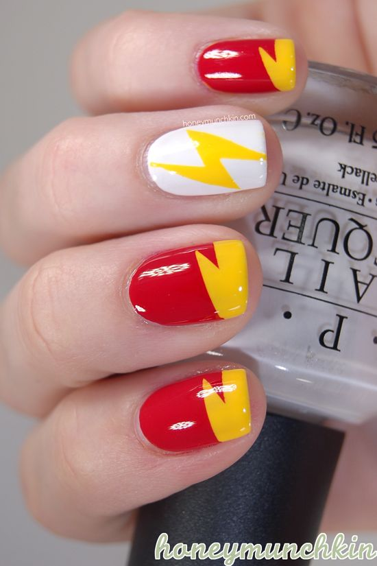 DC Superhero Nail Art Series - Flash by Honeymunchkin.com