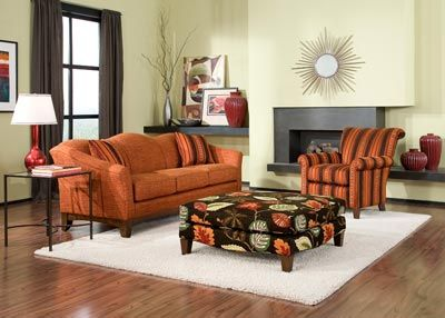 Penny Mustard Furniture ~ ~ Made in the USA!! Chicago and Milwaukee love the orange from last year and the updates of green from this year! #color #sofa