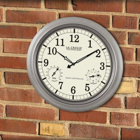 La Crosse Technology 18 inch Atomic Outdoor Wall Clock, White