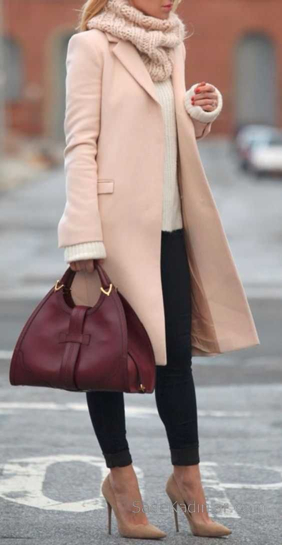 2018-2019 Autumn Winter Combinations Black Pants Cream Pullover Powder Coats
