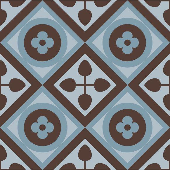 Vintage Brown-Blue Combination. #purpura #cementtiles