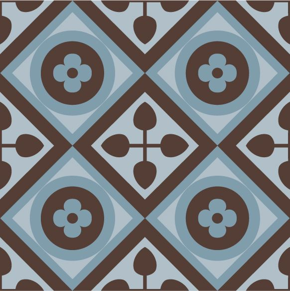 Vintage Brown-Blue Combination. #purpura #cementtiles