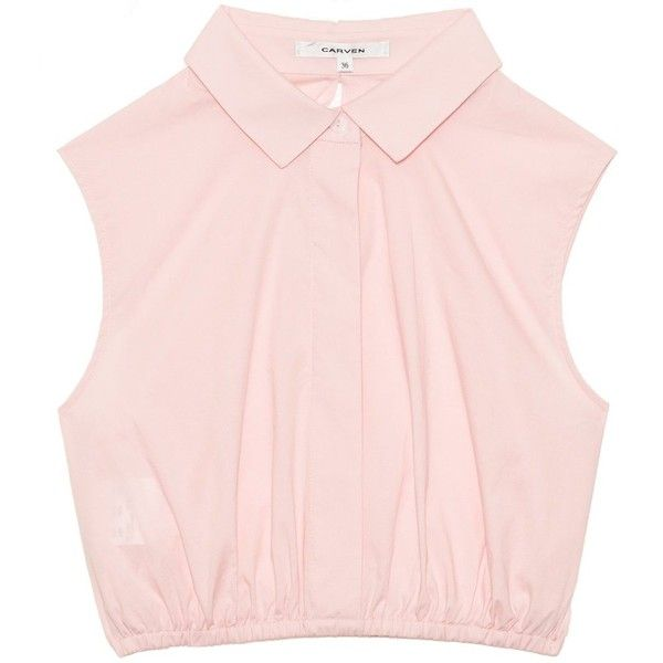 Carven Cropped pink poplin top ($275) ❤ liked on Polyvore