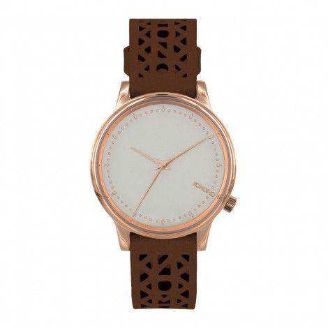 Koop dit Komono Estelle Cut Out Cognac horloge KOM-W2653 horloge online in onze webwinkel.                     Dit is een dames horloge met een quartz uurwerk.                             De kleur van de kast is rose goud en de kleur van het uurwerk is wit.                             De kast is gemaakt van rvs en de band van het horloge van leer.                             Het uurwerk is analoog en er wordt gebruik gemaakt van mineraalglas.                                    ...