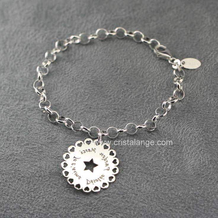 Bracelet breloque Ho oponopono miroir fleurette (jaseron) 160221 B H 1403 : Bijoux Cristalange pour lithothérapie en pierres fines et bijoux anges