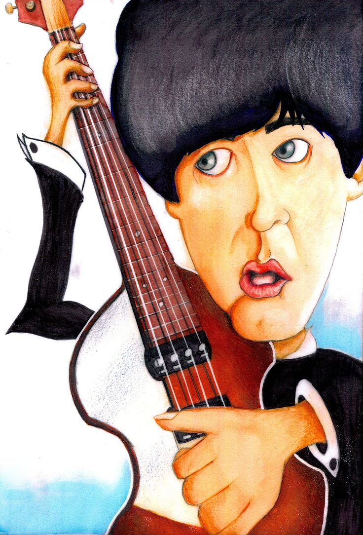 Project: Caricature  Paul McCartney   Markers, colour pencils on semi transparent paper  (c)Helena Sam Galiti