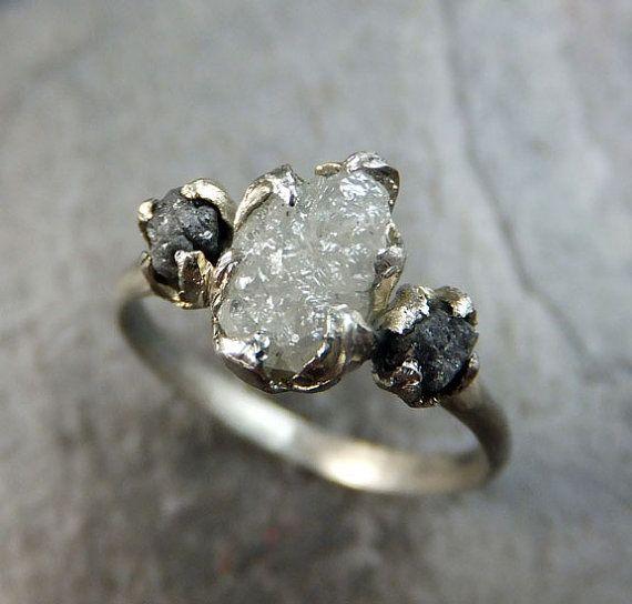 Diamond Engagement Ring Rough Uncut 14k White Gold Wedding Ring Wedding Set Stacking Ring Rough Diamond Ring 3 stone byAngeline    Raw Organic