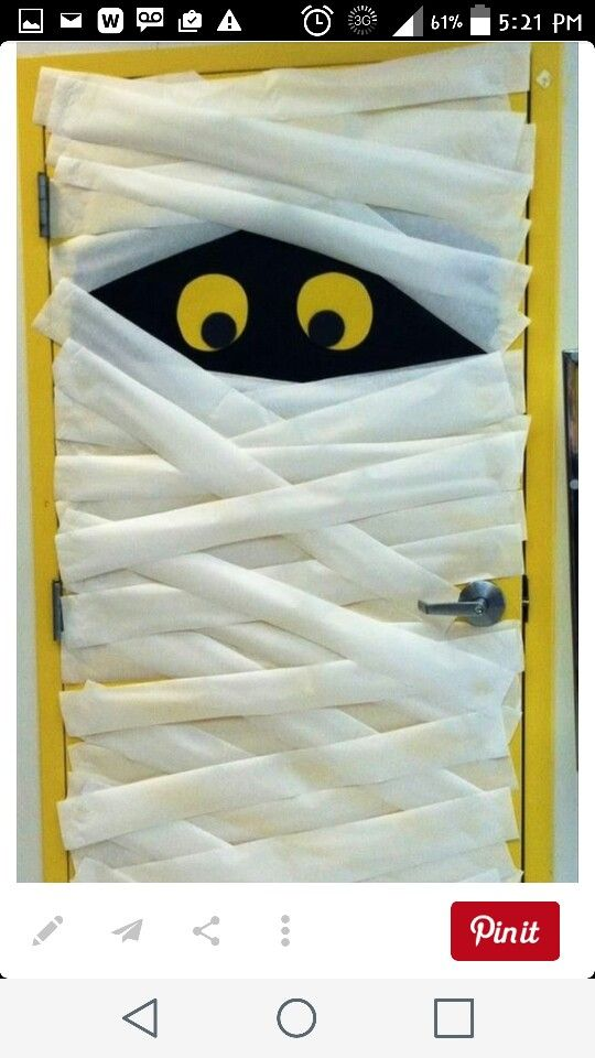 I tried this (well my friend did) for my husbands costume bday party too but it didnt go so well. We first tried using strips of white cloth but it was too thick to hang up and stay up so we went with party streamer bc we didnt want to waste toilet paper but it took us 3 hours to cover the whole door and the day of the party it had all fallen off before the party even started. I was so bummed.
