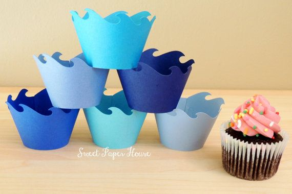 48 Wave Cupcake Wrappers - Six Shades of Blue (Cardstock) (Summer, Spring, Party, Ocean, Water, Pool, Shark, Fin, Fish, Whale, Dolphin, Fin) on Etsy, $25.98