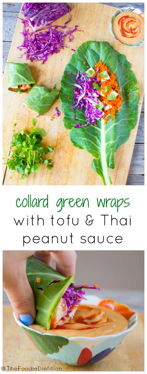 Ditch the bread for your next sandwich wrap and use nutrient-packed collard greens! Start with these collard green wraps with tofu and thai peanut sauce. | @TheFoodieDietitian