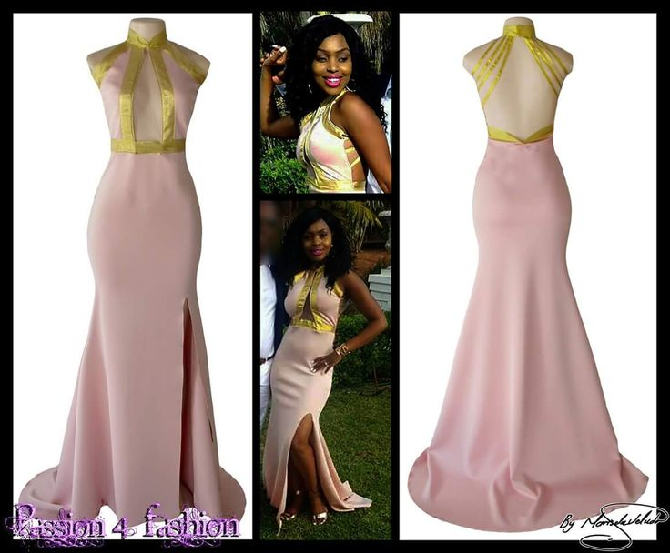 Pinky nude & gold plunging choker neckline evening dress. With an open back, a slit and a train. Marisela Veludo https://goo.gl/qqQoCi #mariselaveludo #passion4fashion #passion4fashion  #eveningdress #plungingneckline #sexydress #pinkandgolddress