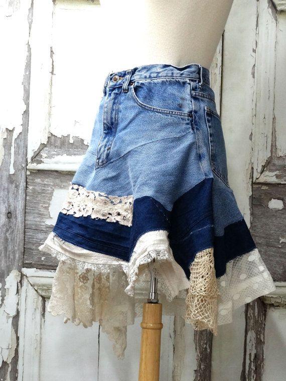 $110.99 USD Lacy Jean Skirt Upcycled ClothingArtsy Jean by CuriousOrangeCat