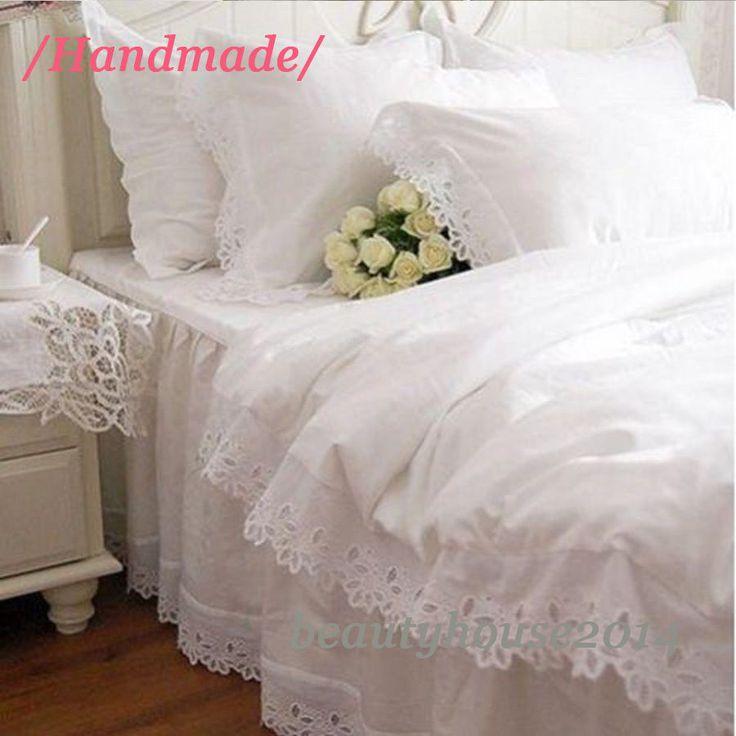 New Classic White Cutwork & Embroidery Duvet Cover / Bed Skirt / Pillow Sham(s) | eBay