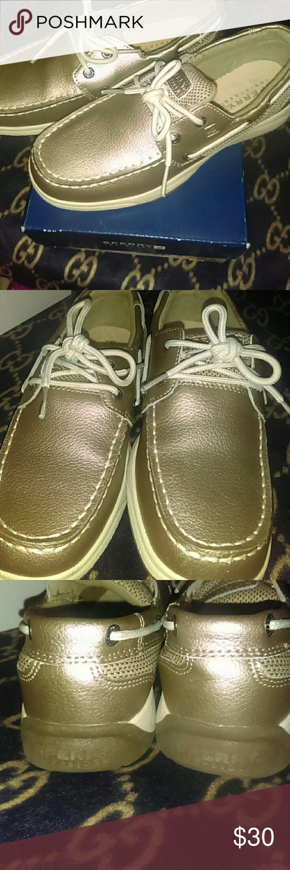 🎈Sale🎈Kids Sperry's Beautiful G Intrepid Pewter Sperry's. My niece wore these maybe not even a handful of times and since it winter she barely wore these and eventually outgrew them. These are practically, pretty much brand new, nothing wrong with them just need a loving home (: since these are I prefect condition and already losing $ on these we will not accept offers! Thank you (: Sperry Shoes