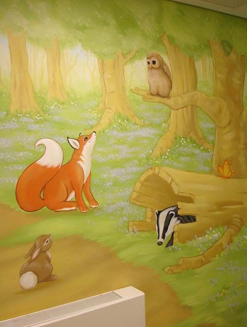 Woodland Scene mural hand painted outside a classroom.