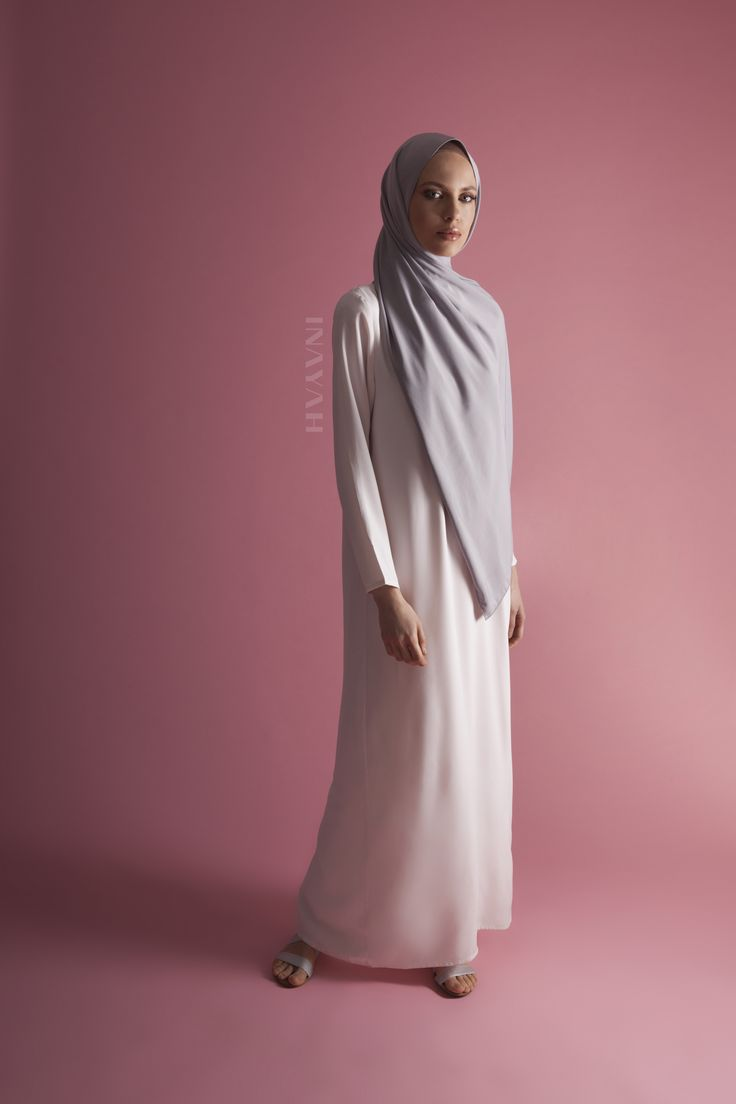 INAYAH | Indulge in our Peach Skin and Soft Crepe #hijab collection and update your Summer looks.  Lilac Grey Peach Skin #Hijab Nude Pink High Neck #Abaya - www.inayah.co