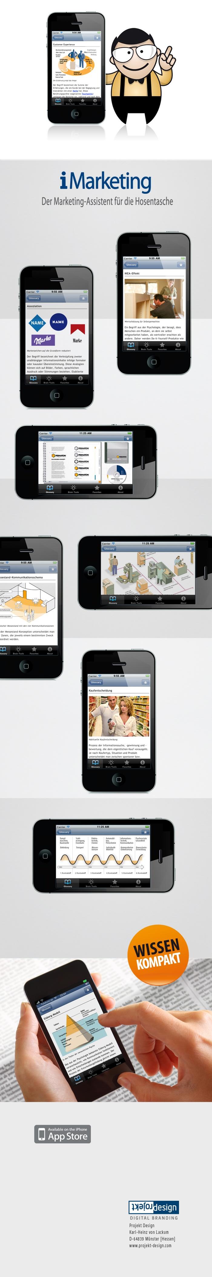 """#iPhone-App """"iMarketing"""" – der Marketing-Assistent für die Hosentasche. Was genau ist """"Built in Obsolescence"""" oder """"Pecha Kucha""""? Und was besagen das """"Aal-Prinzip"""" oder der """"IKEA-Effekt?""""  Hier werden neue und klassische Begriffe und Methoden schnell und einfach erläutert. Erhältlich in Apple Appstore. By Projekt Design Karl-Heinz von Lackum."""
