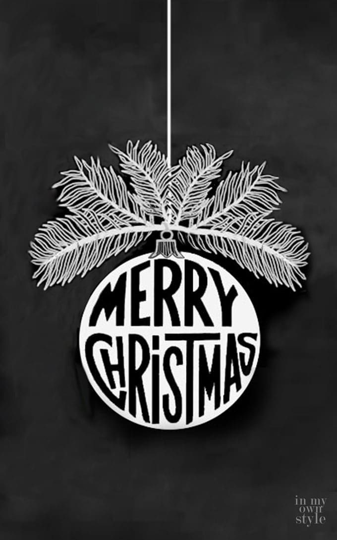 Christmas Ornament Free printable design to transfer to a chalkboard