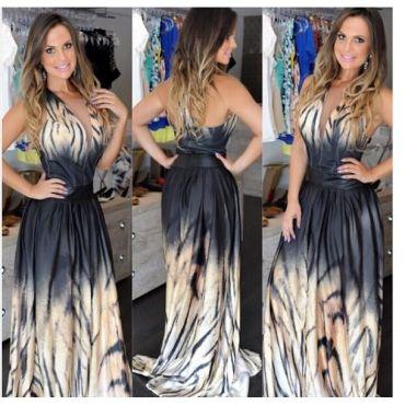Cheap Sexy V Neck Tank Sleeveless Backless Patchwork Tiger Strips Print Black Ankle Length Dress on Luulla