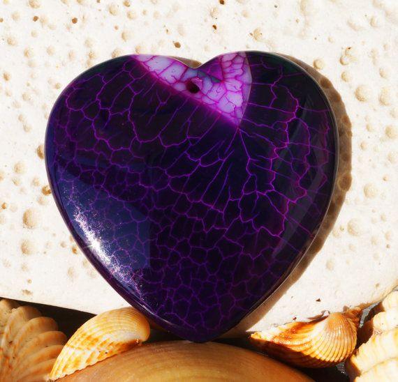 Natural Purple fire agate heart pendant by NaturalMineralsShop