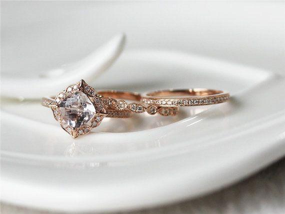 Three Ring Set 1.5ct Fancy Pink Morganite Ring 14K Rose by ByLaris