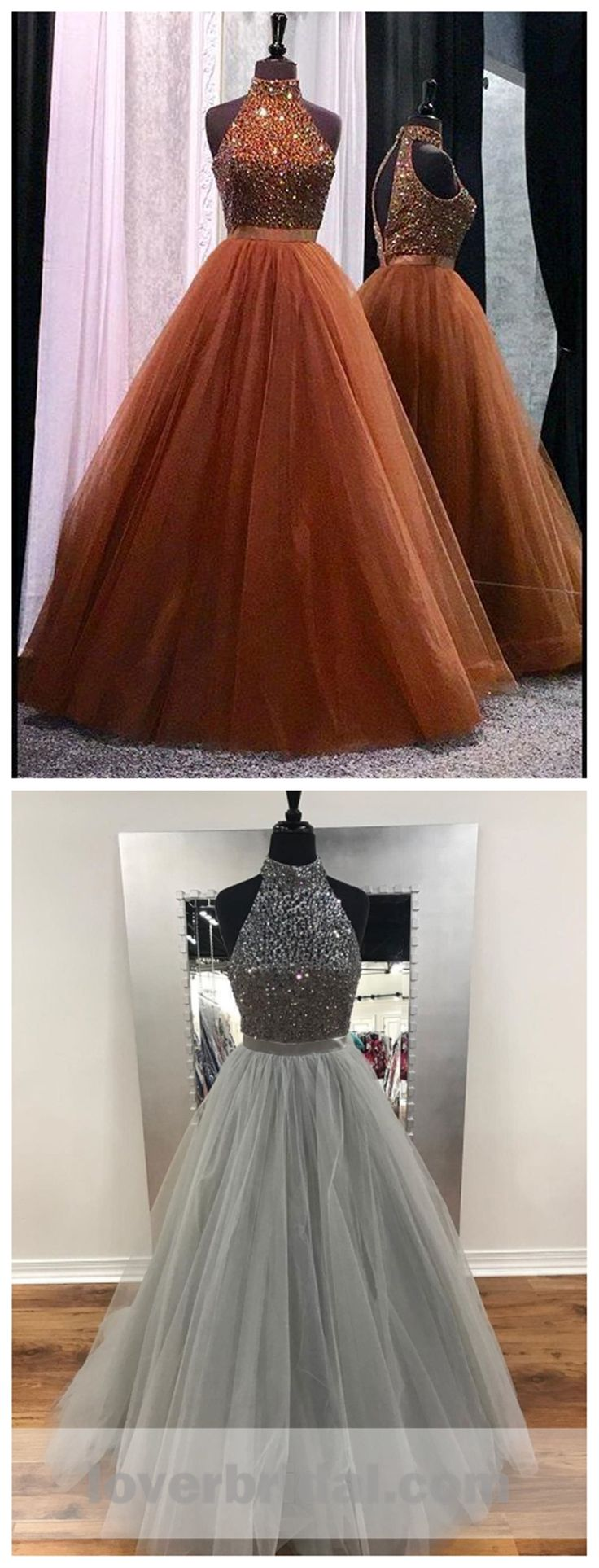 Sexy Open Back Halter Beaded A line Brown Cheap Long Evening Prom Dresses, 17354