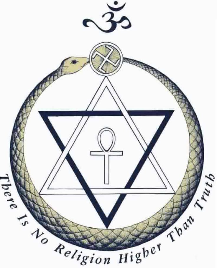 The emblem of the Theosophical Society, a Western mystical order founded in 1875 by mystic Helena Petrovna Blavatsky. The Society's logo is composed of an Ankh, a hexagram, an ouroboros, a swastika, and the Omkar symbol. Blavatksy's intent was to create a symbol embodying universal spiritual symbols, emphasizing the common esoteric doctrines in every faith.