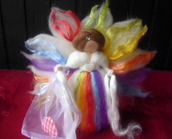 ooak tooth fairy RAINBOW 7 inch needle felted fairy Waldorf tooth fairy needle felted fairy tooth elf -$23.00