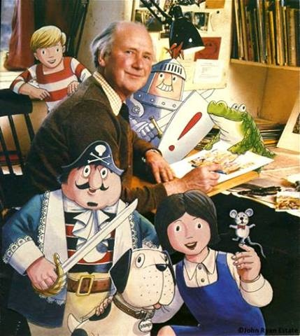 John Ryan with his animated characters Mary,Mungo and midge with Captain Pugwash  and Sir Prancelot
