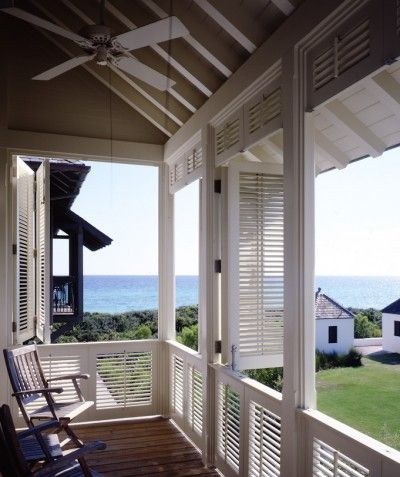 Louvered porch shutters
