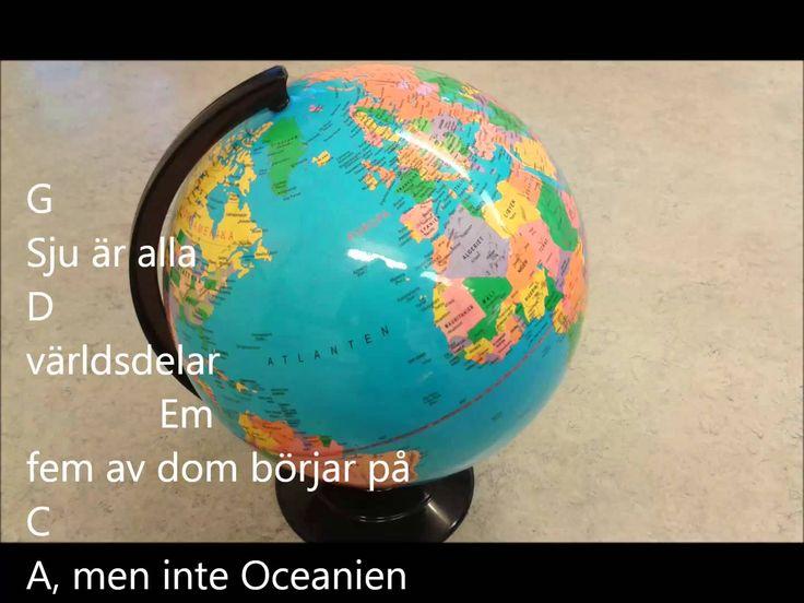 Världsdelssången, karaokeversion