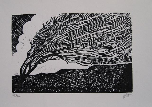 """Windswept Tree"" Linocut by M.Torrance. http://folksy.com/shops/hartley8. Tags: Linocut, Cut, Print, Linoleum, Lino, Carving, Block, Woodcut, Helen Elstone, Tree, (Merlyn Chesterman)."