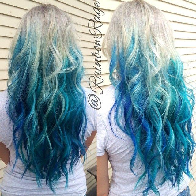 blue • dip dye • ombre • white • aqua • dyed • color • hair • lovely • locks • cool • colors • long hair • pretty • cute