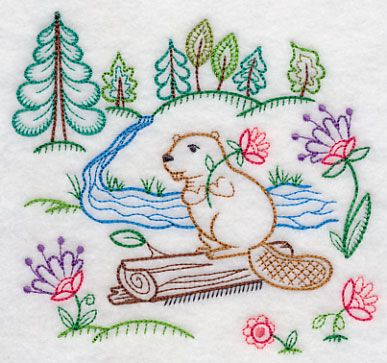 Image by EMBROIDERY LIBRARY INC - Vintage Beaver Finds a Flower
