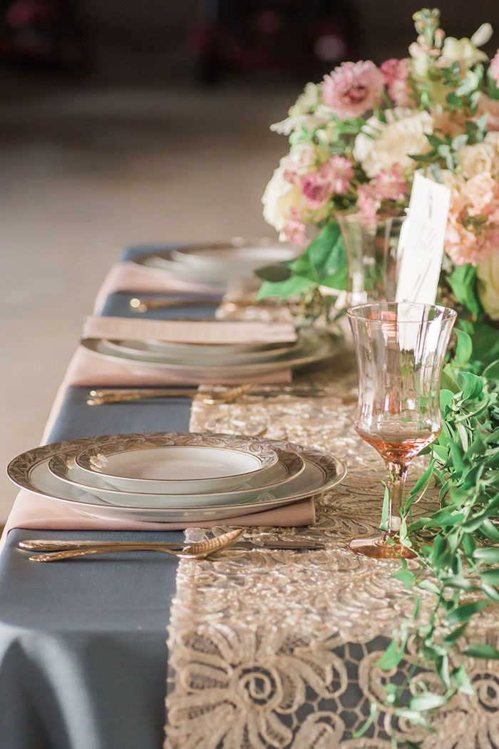 Blush and Slate Blue Wedding Decor with Vintage Lace Details