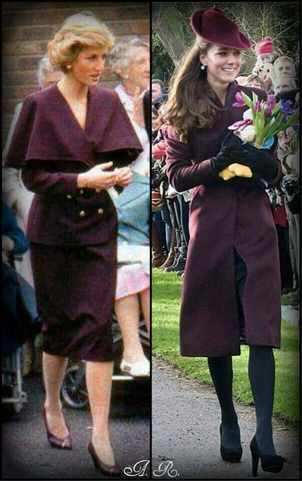 September 1988: Diana in Crawley, wearing a purple woollen suit by Catherine Walker: jacket has a cape top, fastened w/ brass buttons; straight skirt ends just below knee.