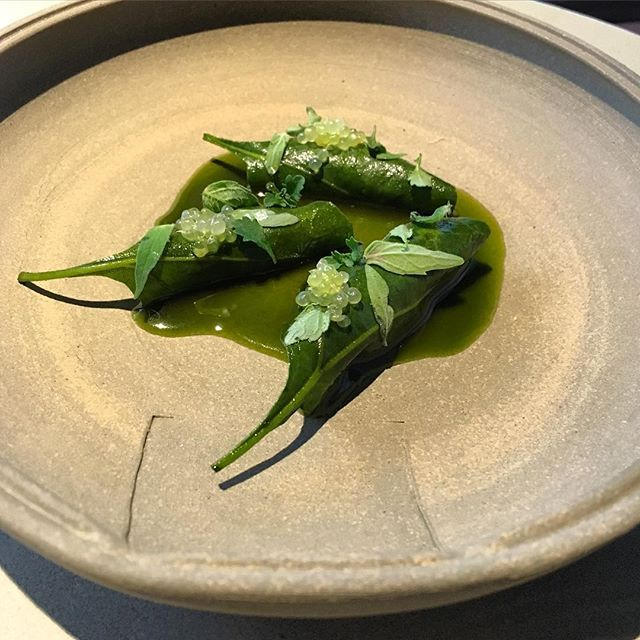 Tucked within each saltbush leaf is porridge of golden and desert oak wattleseed (typically a small grain that can be roasted and steeped like coffee), bound by an oyster emulsion. Wild native herbs and finger lime complete the ensemble.  #nomaaustralia #nomacph #openingday