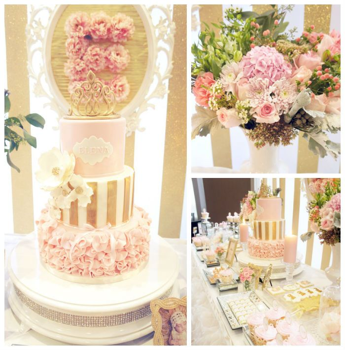 Rosa & Gold principessa partito con idee festa di Kara |  KarasPartyIdeas.com (1)