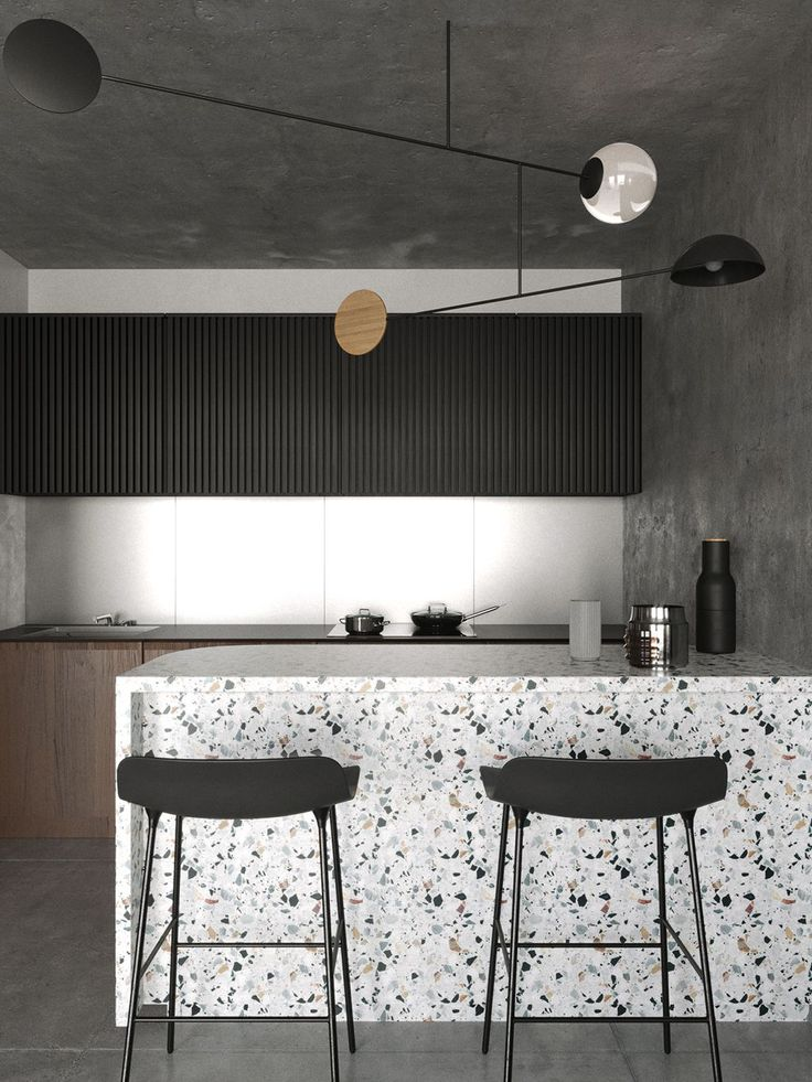 Terrazzo finishes are having a major comeback these days, and they're also a sustainable choice. Discover why + 4 examples of modern terrazzo! Modern Kitchen Design, Interior Design Kitchen, Modern Interior Design, Minimal Kitchen, Home Decor Kitchen, New Kitchen, Home Kitchens, Kitchen Lamps, Kitchen Tiles