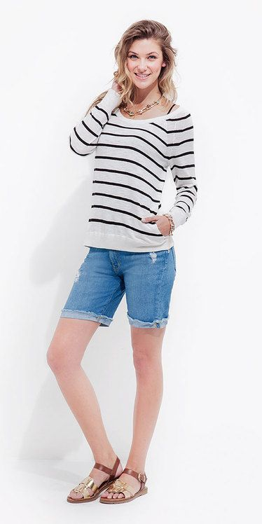 Stripes & Denim Shorts