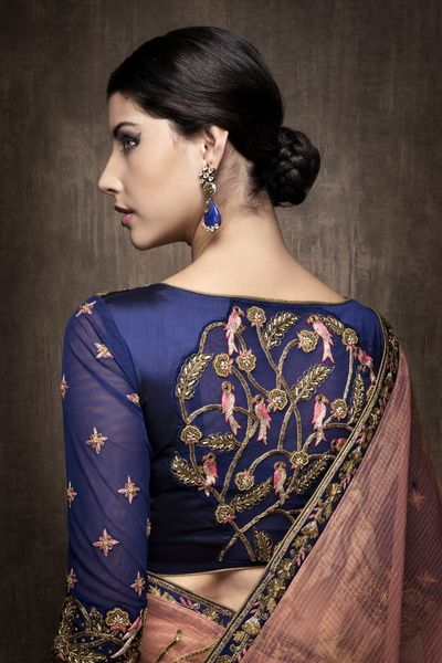 Indian Blouses - Navy Blouse with Bird Design on Back with a Dull Pink Saree…