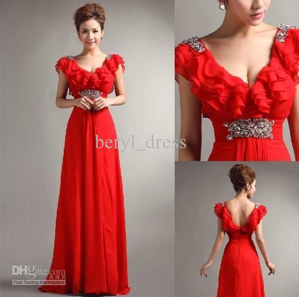 Wholesale Fashion Sexy A Line V Neck Big red Evening Dresses Bridesmaid Dresses Prom Gowns size 4 6 8 10, Free shipping, $87.36-104.16/Piece   DHgate