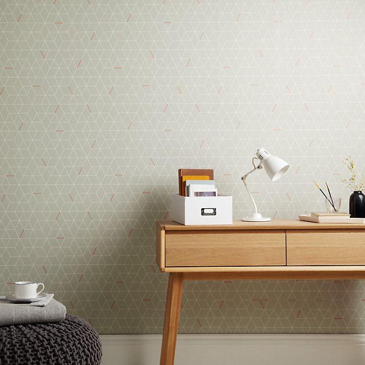 Buy House By John Lewis Grid Wallpaper Smoke Orange Online At Johnlewis