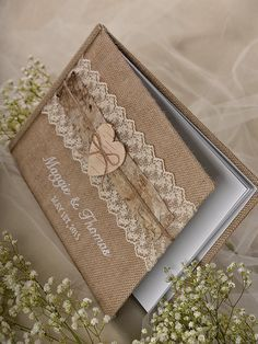 Burlap Natural Birch Bark Wedding Guest Book, Rustic Guestbook, Shabby Chic Burlap Photo Album, Lace , custom colors , embroidery names